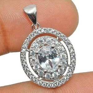NWT Brilliant 3ct White Sapphire Sterling Necklace